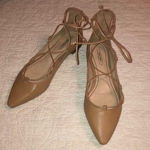 ZARA Nude Ankle Wrap Flats Sz 9